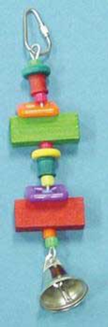 Bobs Wood Bird Brainers Toy W/ Wood Blocks & Bell 8in