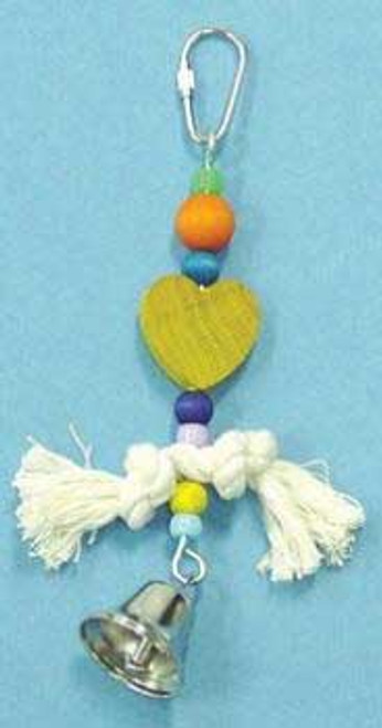 Bobs Wood Bird Brainers Toy W/ Rope & Plastic Beads 7in