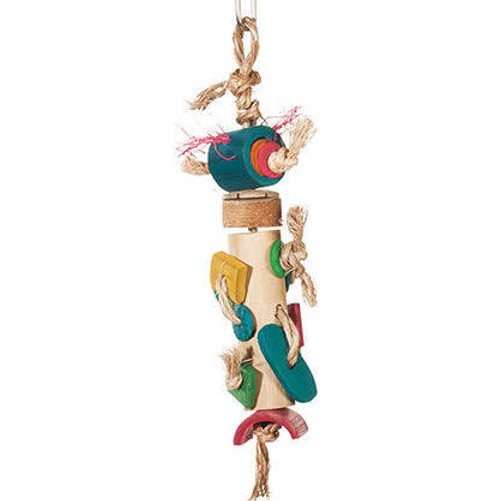 Enrich Your Bird's Playtime With Hari Rustic Treasures Braided Bamboo Tower. Hand Crafted With Natural Abaca, Bamboo, Coconut Husk And Oyster Shell, This Colorful Toy  Encourages Your Pet Parrot To Preen And Condition His Beak So You Don't Have To Worry A