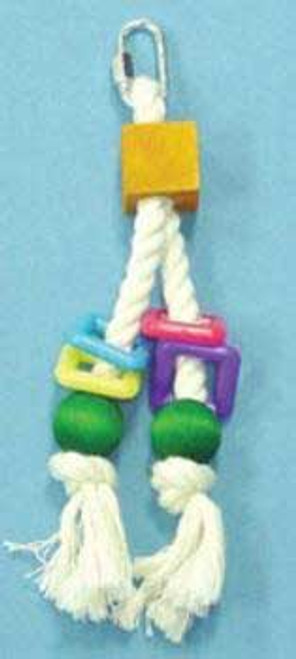 Bobs Wood Bird Brainers Toy W/ Rope & Beads 8in