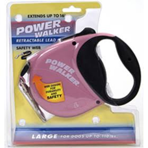 Extend your horizons with our Power Walker Dog Retractable Leash featuring all-web construction for safety and durability. This easy-to-operate retractable leash has a comfort grip handle with easy-to-use one button stop-and-release action. Our retractable leashes allow your dog to explore without the leash tangling or becoming slack. Available in 12' extra-small and 16ft small, medium and large. All of our retractable leashes feature our quality guarantee that covers all products we offer. Other retractable leashes are only covered for a limited time.