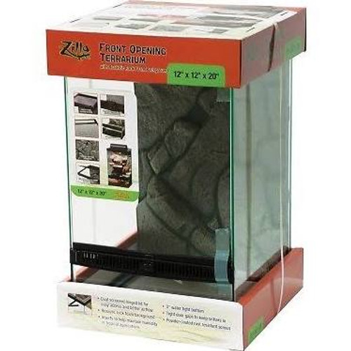 Front Opening Terrariums for easy access and added security.  Front Opening Doors for Easy Access. Removable/Replaceable Doors.  Powder Coated Rust Resistant Screen.  Plastic Inserts to Help Maintain Heat and Humidity.  4ƒ?? Water Tight Bottom (3ƒ?? on 12x12x15).Dual Screened Hinged Lid for Easy Access and Better Airflow.  Very Tight Small Door Gaps and Locking Pins for Added Security.  Realistic Rock Foam Background.