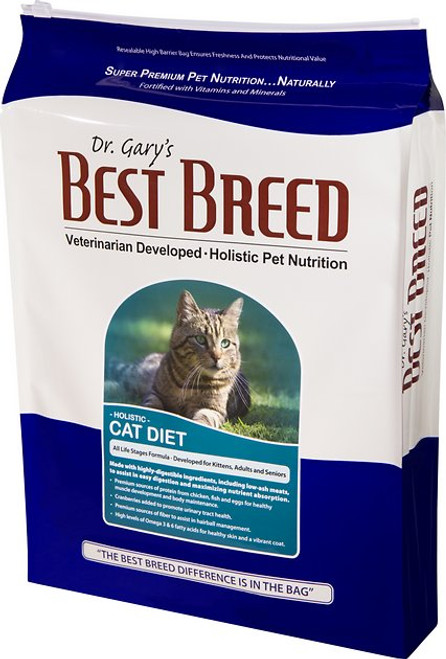 Dr. Gary's Best Breed Holistic All Life Stages Dry Cat Food is naturally formulated to strengthen the digestive health of cats and kittens. This well-balanced diet provides highly digestible protein from chicken, herring and eggs. The inclusion of low-ash ingredients helps maximize nutrient absorption, making this dry food even easier on your kittys stomach. Multiple sources of natural fiber help control hairballs, while cranberries and minerals work together to keep your cats urinary tract in top shape.