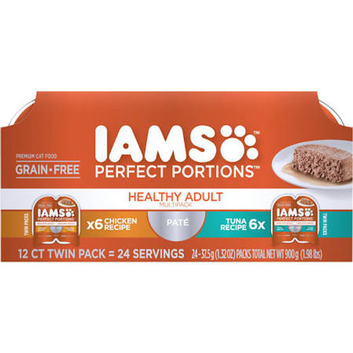 """Iams Perfect Portions Pate Healthy Adult Chicken Recipe is formulated to meet the nutritional levels established by the aafco Cat Food Nutrients Profiles for maintenance.  Iams Perfect Portions Pate Healthy Adult Tuna Recipe is formulated to meet the"""""""