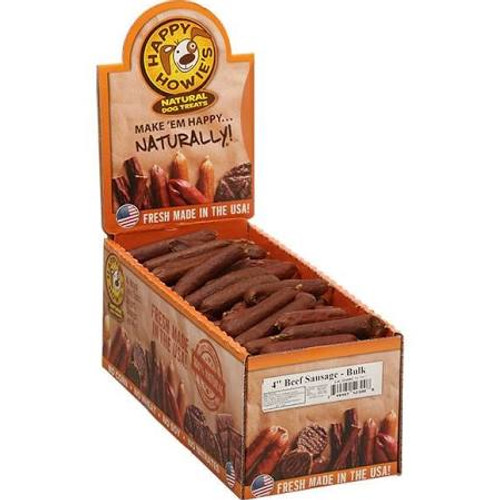 """Slow-cooked beef sausage dog treat.  All natural ingredients and gluten-free rice flour stuffed in an edible casing just like in a real deli.  USA Made."""""""