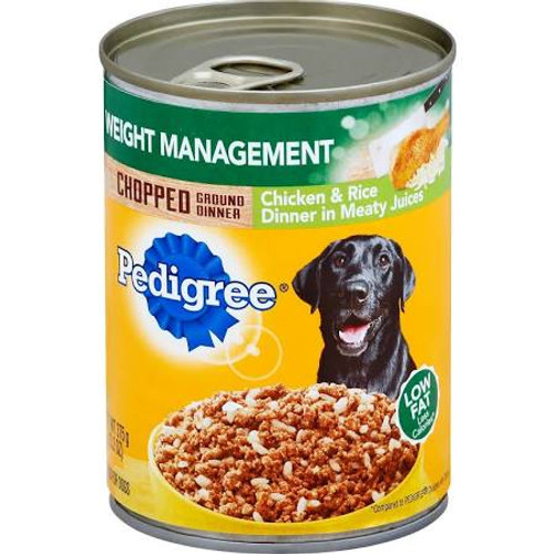 """Less calories (Compared to Pedigree Chopped with Chicken).  Low fat.  Really good food for dogs.  Calorie Content (Calculated): 731 kcal ME/kg 274 kcal ME/can.  Pedigree Weight Management Chopped Ground Dinner Chicken &amp Rice Dinner in Meaty Juices"""""""