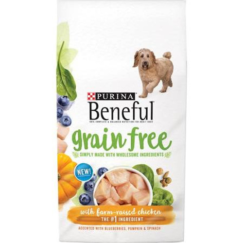 """Fill your dog's bowl with new Purina Beneful Grain Free With Real Farm-Raised Chicken adult dry dog food, and give him a meal that features real farm-raised chicken as the number one ingredient. With accents of blueberries, pumpkin and spinach, this"""""""
