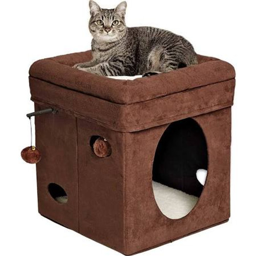 """Fully collapsible for easy transportation - Cushioned top with stuffed bolster barrier - Several cut-out holes for peering out - Includes hanging plush toys and bells .  Cube shape covered in plush brown faux suede your cat will love.  Inside is synt"""""""