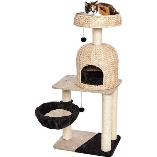 """Midwest Feline Nuvo Fine (&amp Fun) The Reid Feline Furniture Feline Nuvo's Reid has a cozy hoop hammock, a large resting bench, an elevated dome cubby with faux fur pillow, a high-rise basket bed, and sisal-wrapped supports.  Material/Finish: Carpet"""""""