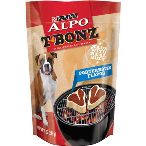 "T-Bonz dog snacks: Because dogs love the taste of steak."""