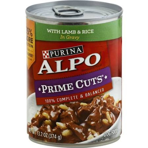 """Tender, meaty bites. 100% complete &amp balanced.  Purina Alpo Prime Cuts in Gravy Homestyle with Lamb &amp Rice is formulated to meet the nutritional levels established by the Association of American Feed Control Officials (AAFCO) Dog Food Nutrient"""""""