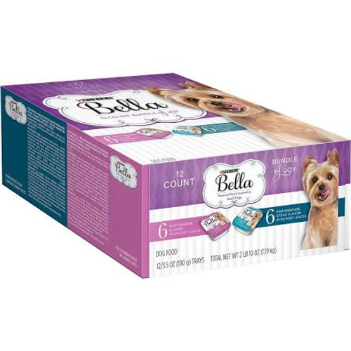 """6 Filet Mignon Flavor in Savory Juices.  6 Porterhouse Steak Flavor in Savory Juices.  Pampered meals inspired by small dogs.  Purina Bella Porterhouse Steak Flavor is formulated to meet the nutritional levels established by the AAFCO Dog Food Nutrie"""""""