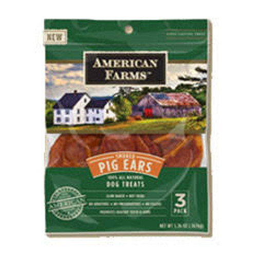"""American Farms Smoked Pig Ears are always baked NEVER fried.  Made from only American farm raised pork each piece is hand selected for the best quality and size.  Theyre all natural and dont contain any artificial ingredients added preservatives or c"""""""