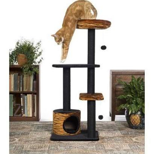 Prevue Pet Products Kitty Power Paws Tiger Tower 7303 combines super soft, plush fabrics with durable jute to provide the perfect place for lounging, sleeping, scratching, hiding and playing. A luxurious tiger print bolstered day bed is a great spot for your kitten or cat to survey its surroundings or take a cat nap. Two plush, dangling, swat toys hang playfully - one from the large cat bed and one from the lower plush platform.  Five individual, durable, jute rope scratching posts offer an appealing texture to cats, curbing inappropriate scratching behaviors and saving your sofa.  In addition to the cat bed, two rectangular platforms provide opportunities for pouncing and jumping or multiple levels for more than one cat to lounge comfortably.  A lower level hideout makes your cat or kitten feel more secure and minimizes social stress.  At 4 foot tall, this cat tree utilizes vertical space and a compact footprint to save space in your home while offering your kitty plenty of options to play, sleep and lounge. Expertly designed cat furniture assembles easily and satisfies the needs of cats of all ages, sizes and activity levels.  Measures 24'' Long, 24'' Wide and 48'' High.