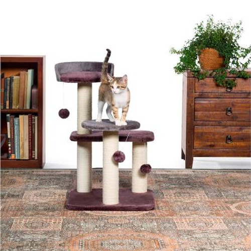 Prevue Pet Products Kitty Power Paws Play Palace 7301 combines super soft, plush fabrics with durable jute to provide the perfect place for lounging, sleeping, scratching and playing.  In luxurious tones of Gray and Plum the Play Palace cat tree features a cushy day bed with a ƒ??Uƒ?? shaped back, making your cat or kitten feel more secure and less vulnerable to sneak attacks.  In addition to the cat bed, two additional platforms provide opportunities for pouncing and jumping plus enough vertical space for multiple cats to lounge comfortably.  Three plush, dangling, swat toys hang playfully - one from the cat bed and one from each plush platform. Four individual, natural, jute rope scratching posts offer an appealing texture to cats, curbing inappropriate scratching behaviors and saving your sofa.  Expertly designed cat furniture assembles easily and satisfies the needs of cats of all ages, sizes and activity levels.  Measures 22'' Long, 17 5/8'' Wide and 28 3/8'' High.