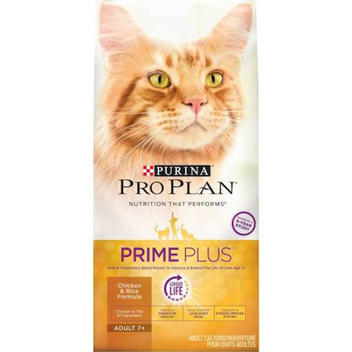 """Serve your feline friend Purina Pro Plan Prime Plus Adult 7+ Chicken &amp Rice Formula dry cat food, with real chicken as the #1 ingredient, and watch her enjoy every bite to the bottom of her bowl.  Prime Plus includes a proprietary blend proven in"""""""