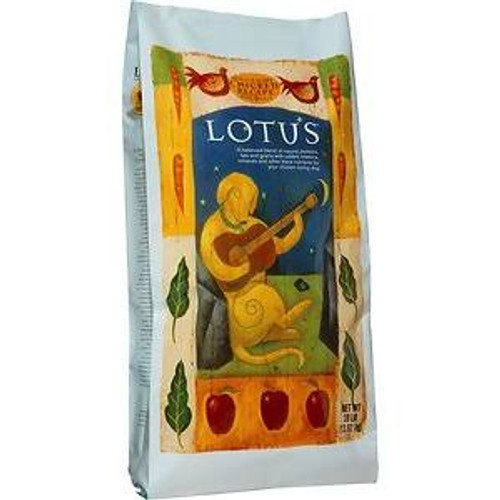 """Natural chicken, whole ground brown rice, wholesome fruits and vegetables, and our special blend of soybean, olive and salmon oilsall make our original Lotus dry dog food recipe taste like delicious oven-fresh chicken cookies.  The cat is so jealous"""""""
