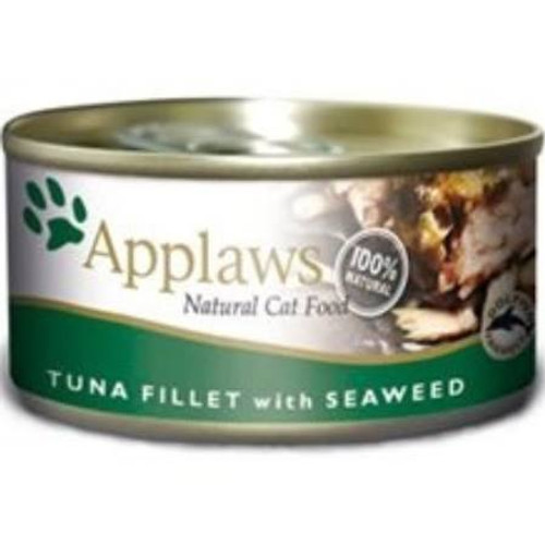 """APPLAWS Tuna Fillet with Seaweed is a 100% natural complementary pet food for adult cats made with nothing more than the 4 ingredients listed and contains sea caught fish which can be rich in essential amino acids and fatty acids such as Omega 3   Om"""""""