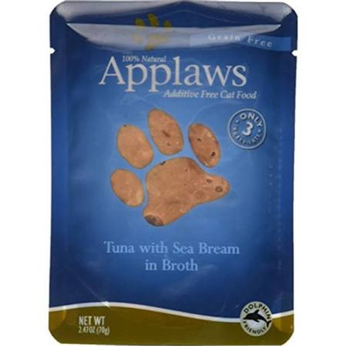 """Applaws Tuna with Sea Bream in Broth is a delicious and healthy additive free and grain free meal for cats.  Packed with lean protein goodness with no fillers, artificial flavors or preservatives.  This meal contains only natural ingredients includin"""""""