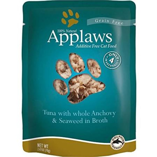 """Applaws Cat Food Pouches Tuna &amp Whole Anchovy 2.4oz Applaws Pouches are a 100% completely natural complementary pet food for adult cats that contains only a select few ingredients that your kitty will love!  Use as a kibble topper or a supplementa"""""""