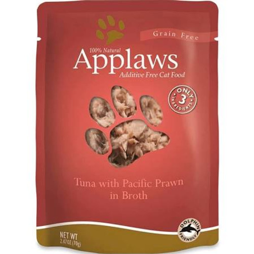 """Applaws Cat Food Pouches Tuna &amp Prawn 2.4oz Applaws Pouches are a 100% completely natural complementary pet food for adult cats that contains only a select few ingredients that your kitty will love!  Use as a kibble topper or a supplemental meal!"""""""
