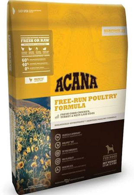 """The Free-Run Poultry formula is loaded with free-run Cobb chicken, Tom turkey and whole nest-laid eggs plus fresh veggies, fruits and botanicals.  These ingredients arrive daily from trusted local farms to be cooked in ACANA s own Kentucky kitchens."""""""