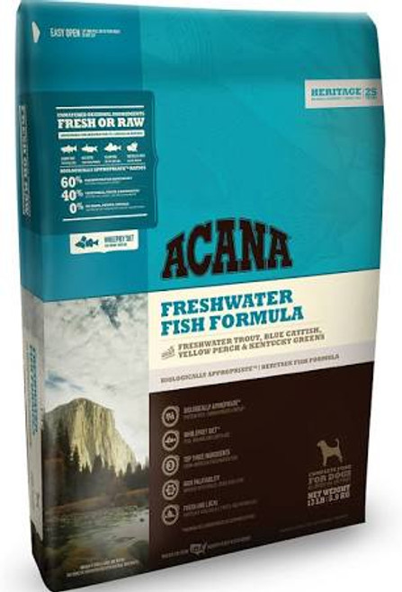 """By nature, all dogs are evolved as carnivores, biologically adapted for a diet rich and varied in fresh meats with smaller amounts of fruits, vegetables and grasses. - That s why we loaded ACANA Freshwater Fish with Rainbow trout from Idaho, whole Bl"""""""