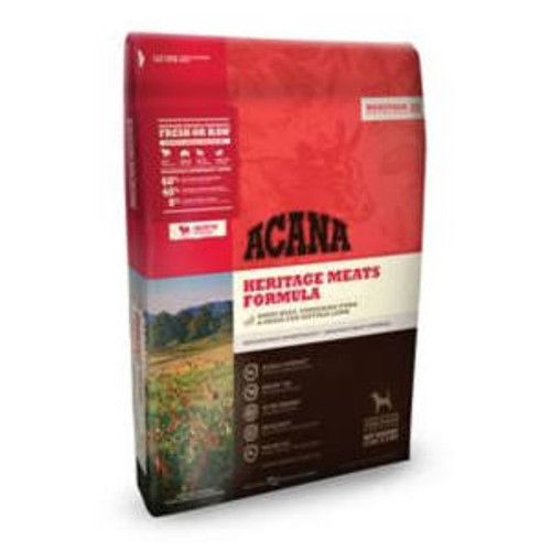 ACANA Heritage Meats Formula Grain-Free Dry Dog Food, 13-lb bag ACANA Heritage Meats Formula Grain-Free Dry Dog Food celebrates ACANA s heritage as a biologically appropriate diet that s rich in protein and trusted by pet parents.  The Heritage Meats""