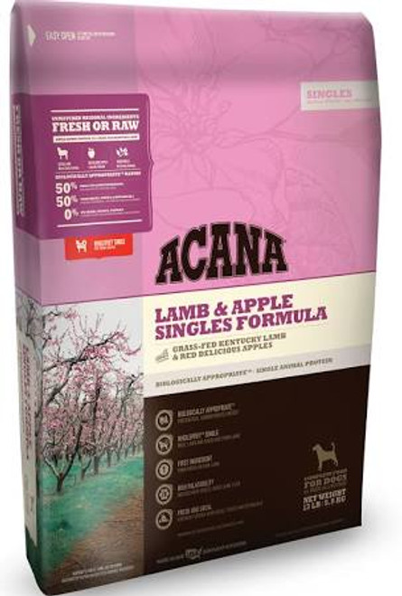 """ACANA Lamb &amp Apple Singles Formula Dry Dog Food, 4.5-lb bag The ultimate food mimics the one Mother Nature intended your dog to eat.  Featuring grass-fed lamb as the sole animal protein, ACANA Lamb &amp Apple Singles Formula Dry Dog Food is a limi"""""""