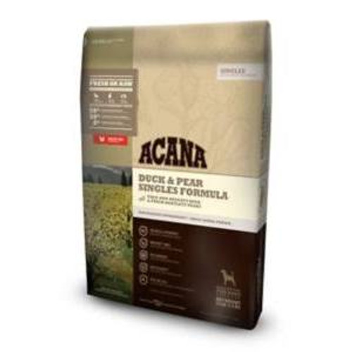 """ACANA Duck &amp Pear Singles Formula Dry Dog Food, 25-lb bag The ultimate food mimics the one Mother Nature intended your dog to eat.  Featuring free-run duck as the sole source of animal protein, ACANA Duck &amp Pear Singles Formula Dry Dog Food is"""""""