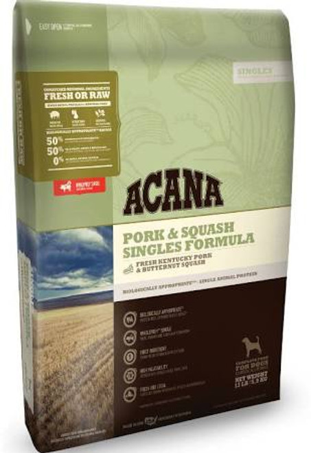 ACANA Pork &amp Squash Singles Formula Dry Dog Food, 13-lb bag The ultimate food mimics the one Mother Nature intended your dog to eat.  Featuring Yorkshire pork as the sole animal protein, ACANA Pork &amp Squash Singles Formula Dry Dog Food is a lim""