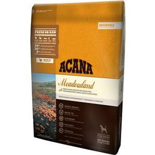 """Loaded with 70% meat, ACANA Meadowlands is brimming with free-run Cobb chicken, Tom turkey, nest-laid eggs, Blue catfish and Rainbow trout   delivered fresh in WholePreyratios to mirror your dog s evolutionary diet.  Prepared in our Kentucky DogStar"""""""