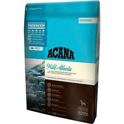 """ACANA Wild Atlantic Regional Formula Grain-Free Dry Dog Food, 4.5-lb bag The ultimate food mimics one that Mother Nature intended.  That s why ACANA Wild Atlantic Regional Formula Grain-Free Dry Dog Food is loaded with wild-caught mackerel, herring,"""""""