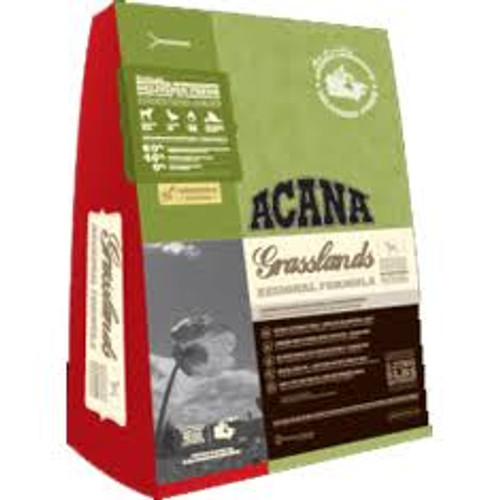 """Acana Grasslands Geared to match the natural diet of dogs Acana Grasslands is lowcarbohydrate and grainfree and is loaded with premium meat ingredients a full 60 including Omega3 EPA DHA from fresh fish to support immunity and a luxuriant skin and ha"""""""