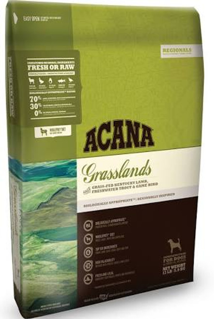 ACANA Grasslands Dry Dog Food ACANA Grasslands Dry Dog Food Inspired by Kentucky s lush and fertile grasslands, this region-inspired food features grass-fed Kentucky lamb, nest-laid eggs, rainbow trout, Muscovy duck and free-run quail.  Brimming with""