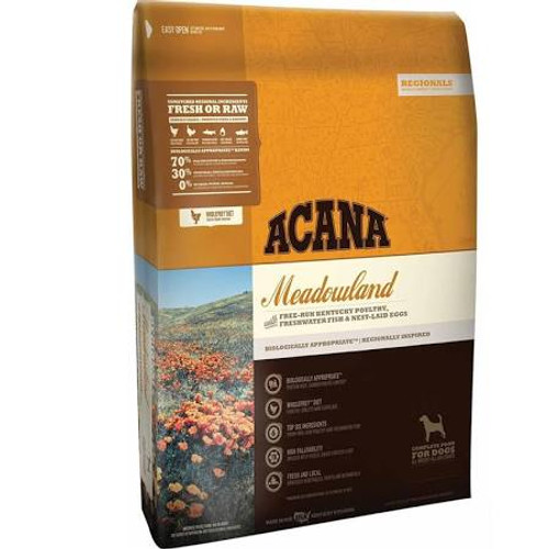 Reflecting Kentucky's fertile meadows, this region-inspired cat food is loaded with free-run chicken and turkey, whole nest-laid eggs, freshwater fish and whole vegetables and fruits from local farms.  Packed with 75% meat, ACANA Meadowland is brimmi""