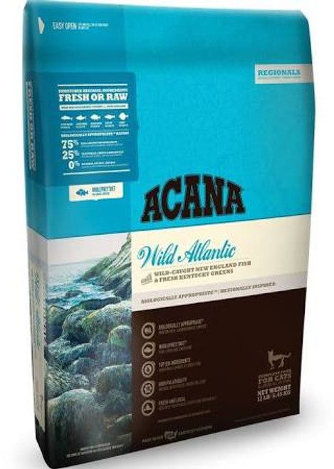 """Evolved as carnivores, Mother Nature adapted cats to thrive on a diet rich and varied in animal proteins and fats-not carbohydrates and grains.  Acana Pacifica Grain Free Dry Cat Food features a diversity of regional fish including pacific salmon plu"""""""