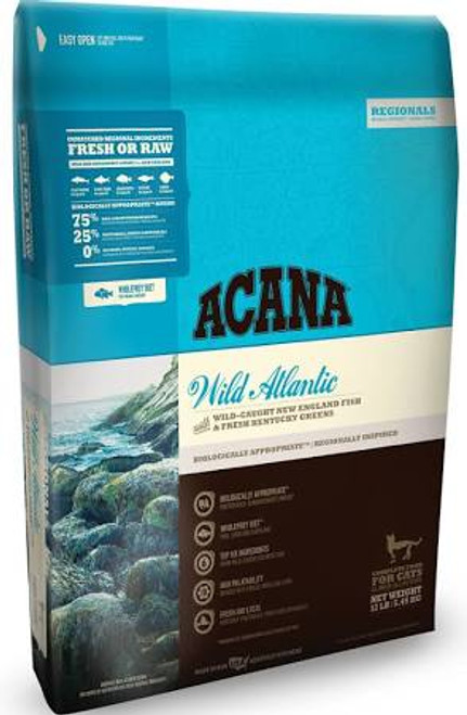 """New Englands cold Atlantic waters are renowned for their sustainable diversity of wild fish.  Inspired by our rich marine heritage, ACANA Wild Atlantic is brimming with wild-caught fish that mirror your cats evolutionary diet.  Our rich diversity of"""""""