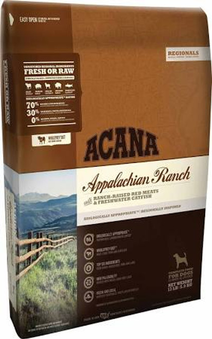 """Acana's meat-rich cat food mirrors your cat's evolutionary diet and promotes peak health.  Acana Appalachian Ranch filled with American bison, ranch-raised Angus beef, Yorkshire pork, Suffolk lamb and freshwater catfish is 75% meat.  The rest is fulf"""""""