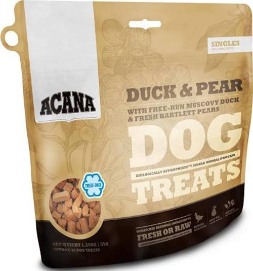 """ACANA Duck and Pear Freeze Dried Dog Treats ACANA Duck and Pear Freeze Dried Dog Treats Loaded with goodness and full of natural flavor, ACANA Duck &amp Pear Treats contains one single, easily digestible animal protein and rewards your dog according"""""""