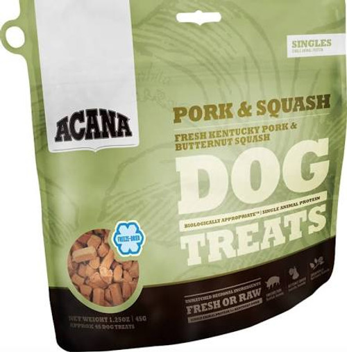 """ACANA Pork and Squash Freeze Dried Dog Treats ACANA Pork and Squash Freeze Dried Dog Treats Loaded with goodness and full of natural flavor, ACANA Pork &amp Squash Treats contains one single, easily digestible animal protein and rewards your dog acco"""""""