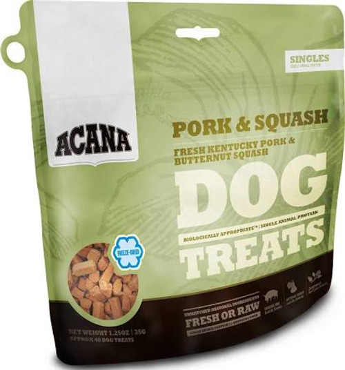 ACANA Pork and Squash Freeze Dried Dog Treats ACANA Pork and Squash Freeze Dried Dog Treats Loaded with goodness and full of natural flavor, ACANA Pork &amp Squash Treats contains one single, easily digestible animal protein and rewards your dog acco""