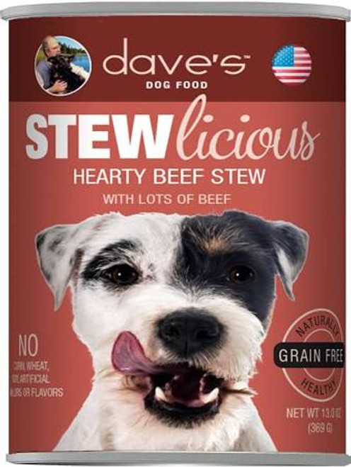 Dave's Pet Food Grain-free Beef Stew Formula Is Loaded With Real Protein And A Great Taste Your Dog Will Love! Healthy, Grain-free, All Natural With Added Vitamins And Minerals To Keep Your Dog Healthy And Active. No Artificial Flavors Or Colors.