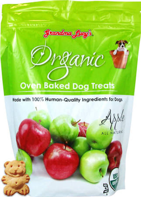 """Grandma Lucys Organic Baked Dog Treats Baked Apple 14 oz Bag Grandma Lucys Organic Apple Treats are made completely natural and baked by people not just in a factory.  These treats have humanquality ingredients that your dogs will love!"""""""