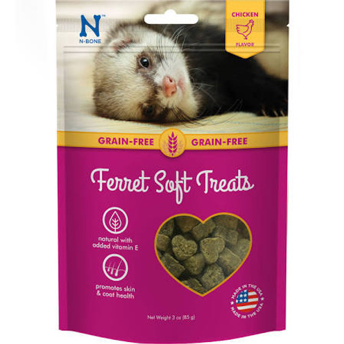"""Looking for a delicious and beneficial treat for your ferret   Safe for ferrets of all ages, these irresistibly tasty treats help remove plaque and tartar buildup as your ferret chews.  High in protein, low in fat, and with added Taurine, N-Bone Ferr"""""""