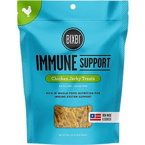 """BIXBI Immune Support Chicken Jerky Dog Treats, 5-oz bag BIXBI Immune Support Chicken Jerky Recipe Dog Treats are carefully formulated to strengthen your dog s immune system.  A special blend of blueberries, cranberries and organic reishi mushrooms p"""""""