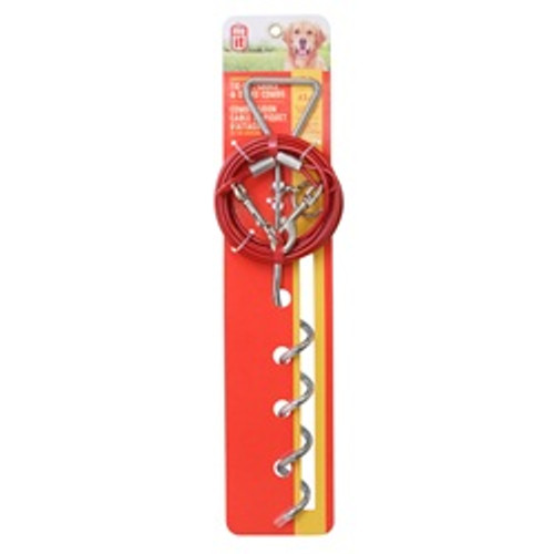Dogit Tie-out Stake & Cable Lg Red {requires 3-7 Days before shipping out}