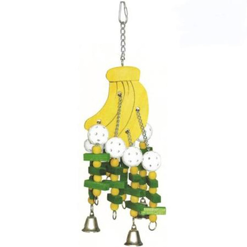 Keep Your Bird Occupied With The Large Bananas Toy By Happy Beaks. This Toy Consists Of A Large Brightly Colored Wooden Pear With A Series Of Chains, Wooden Beads, Wiffle Balls, Wooden Blocks, And 3 Bells Hanging From It. Dimensions: 20.47 X 6.69 X 6.69 I