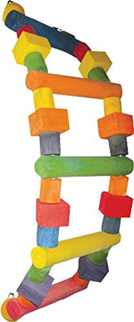 Multicolored Wood Design, Tons Of Climbing Fun For Your Bird, Durable Construction For Extended Uses, Easily Clips To The Top Of The Bird Cage.