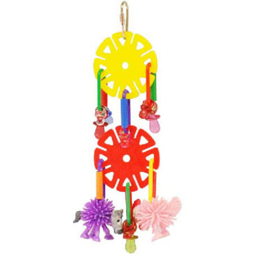 Jazz Up Your Birds Play Time With The Spikey Friends Sun Chips Toy By Happy Bird. This Toy Features Colorful Plastic Discs Adorned With Plastic Pacifiers And Finished Off With 2 Rubber Spikey Friends. This Toy Is Topped With A Sturdy Metal Hook That Can B
